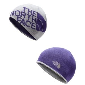 North Face Youth Gray Blue Reverse Beanie Knit Hat